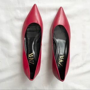 Zara Red Pointed Leather Heels